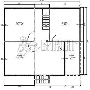 Деревянный дом 8x10 Альфа-27 (План 2-го этажа)