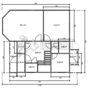 Деревянный дом 8x10 Альфа-28 (План 1-го этажа)
