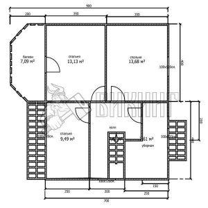 Деревянный дом 8x10 Альфа-28 (План 2-го этажа)