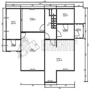 Деревянный дом 8x11,5 Альфа-29 (План 1-го этажа)