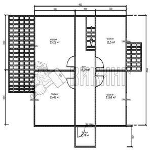 Деревянный дом 8x11,5 Альфа-29 (План 2-го этажа)