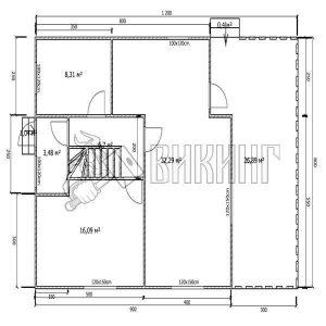 Деревянный дом 8x12 Альфа-37 (План 1-го этажа)