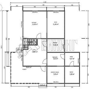 Деревянный дом 10,5x11,5 Альфа-30 (План 1-го этажа)