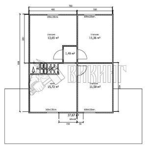 Деревянный дом 10,5x11,5 Альфа-30 (План 2-го этажа)