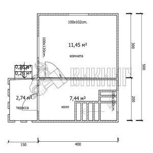 Деревянный дом 4x5 Гамма-4 (План 1-го этажа)