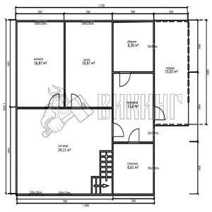 Деревянный дом 10x12,5 Альфа-31 (План 1-го этажа)