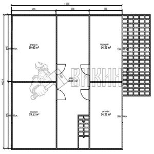 Деревянный дом 10x12,5 Альфа-31 (План 2-го этажа)