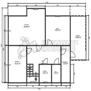 Деревянный дом 10x12,5 Альфа-32 (План 1-го этажа)