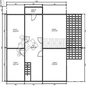 Деревянный дом 10x12,5 Альфа-32 (План 2-го этажа)