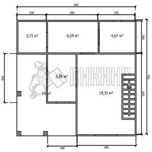 Деревянный дом 7x8 Альфа-14 (План 1-го этажа)