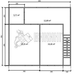 Деревянный дом 7x8 Альфа-14 (План 2-го этажа)