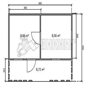 Садовый Дом 6x4,5 с террасой (План)