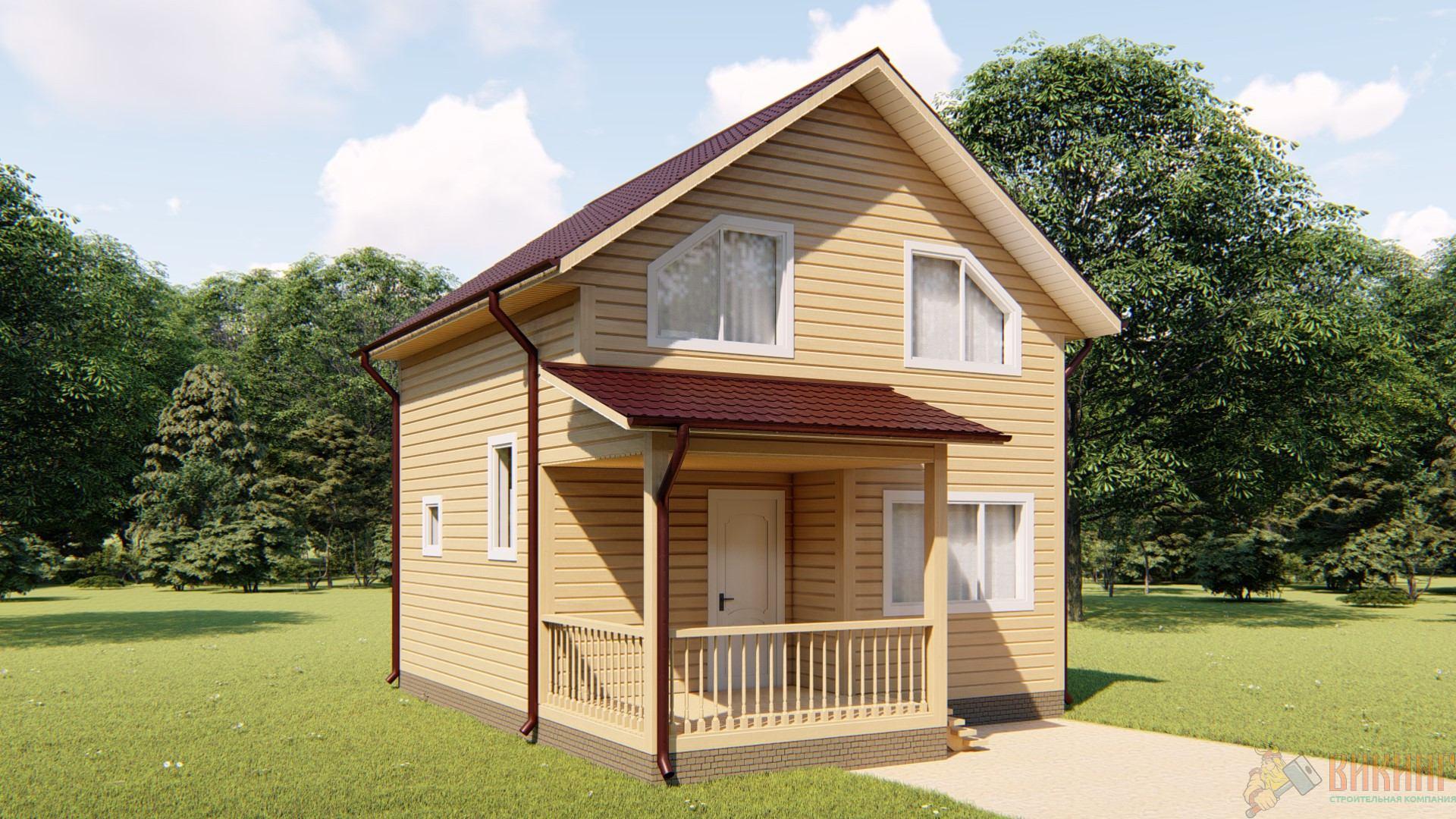 Каркасный дом полтора этажа 6х6 с террасой