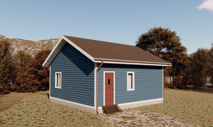Одноэтажный каркасный дом 7x7