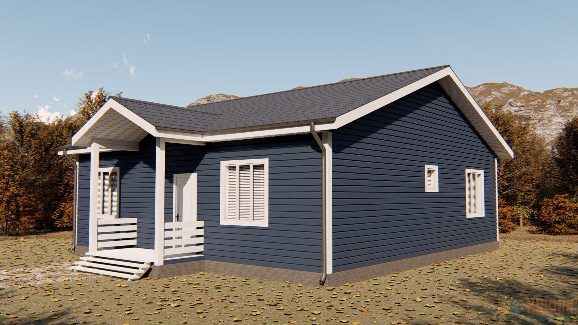 Одноэтажный каркасный дом 11x10,5