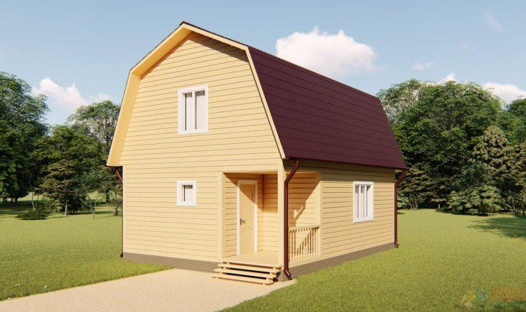 Каркасный дом с мансардным этажем 8x6 СНТ