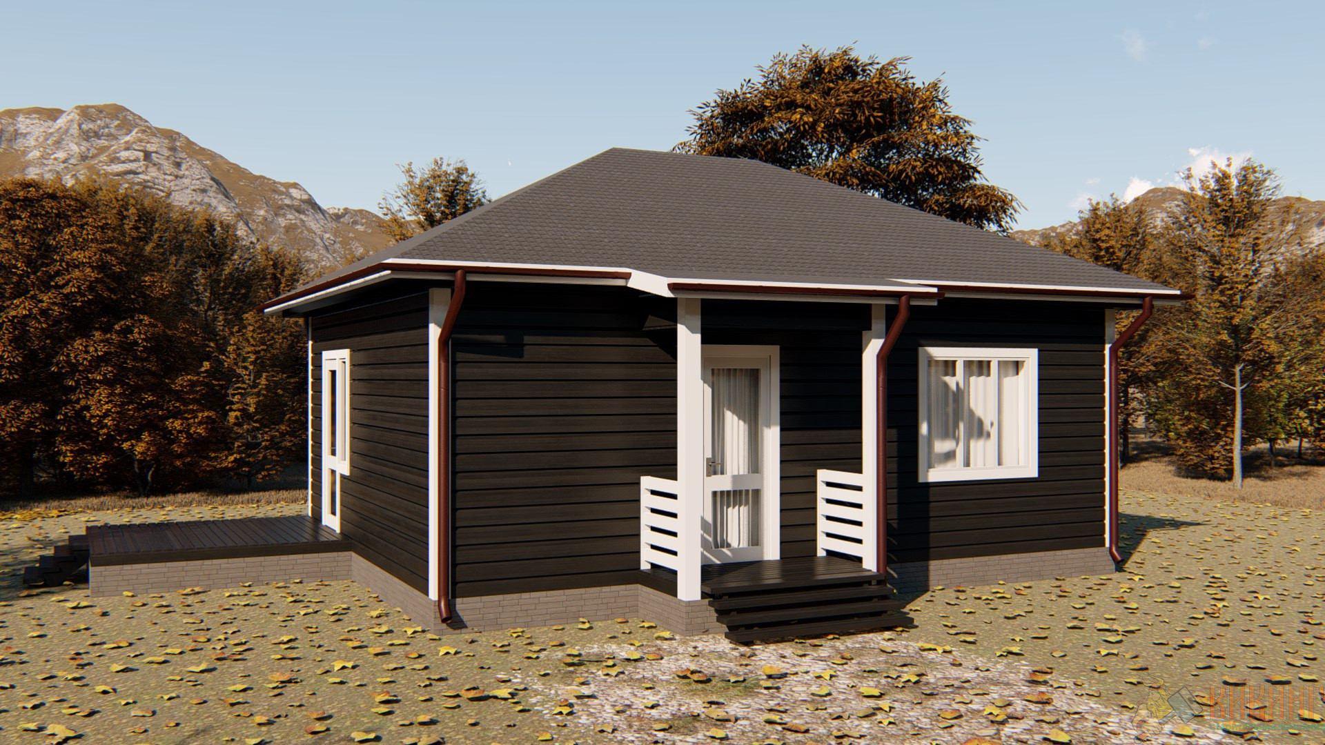 Одноэтажный каркасный дом 6x8