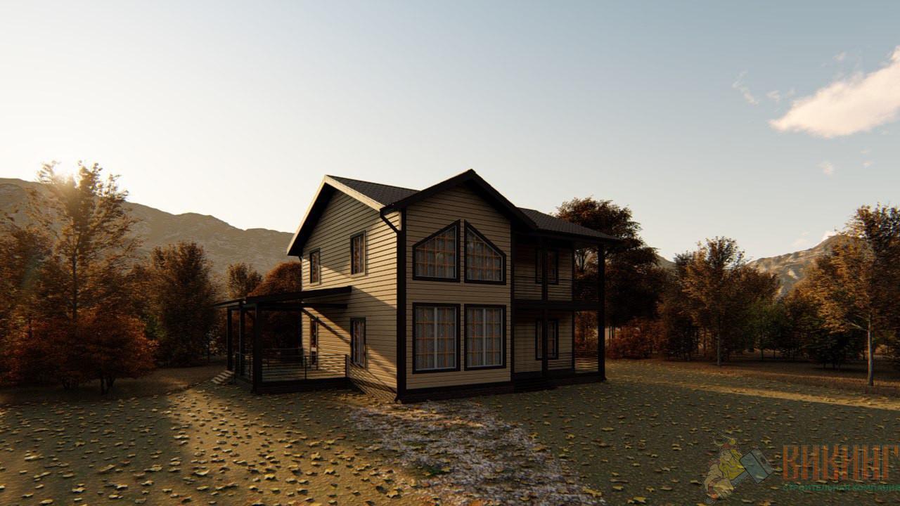 Двухэтажный каркасный дом 9x9