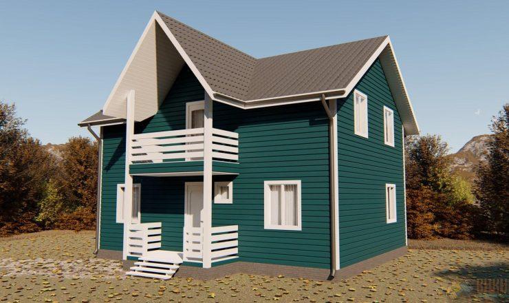 Каркасный дом полтора этажа 7x9