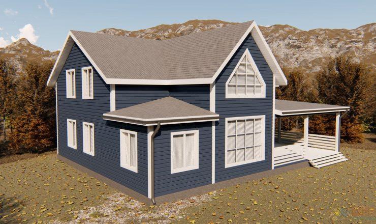Каркасный дом полтора этажа 10,5x10,5