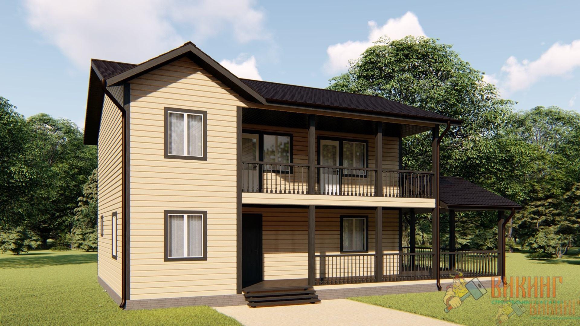 Двухэтажный каркасный дом 8х13м