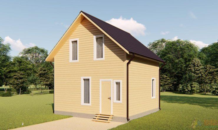 Каркасный дом полтора этажа 6х6м
