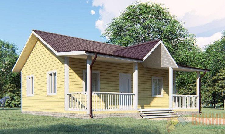 Каркасный одноэтажный дом 8х8м
