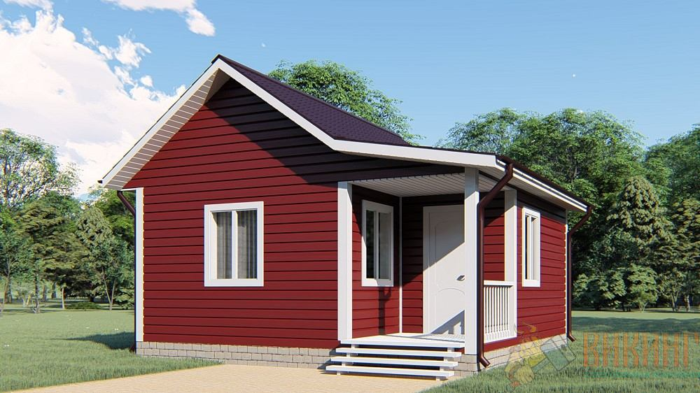 Каркасный одноэтажный дом 6х6м