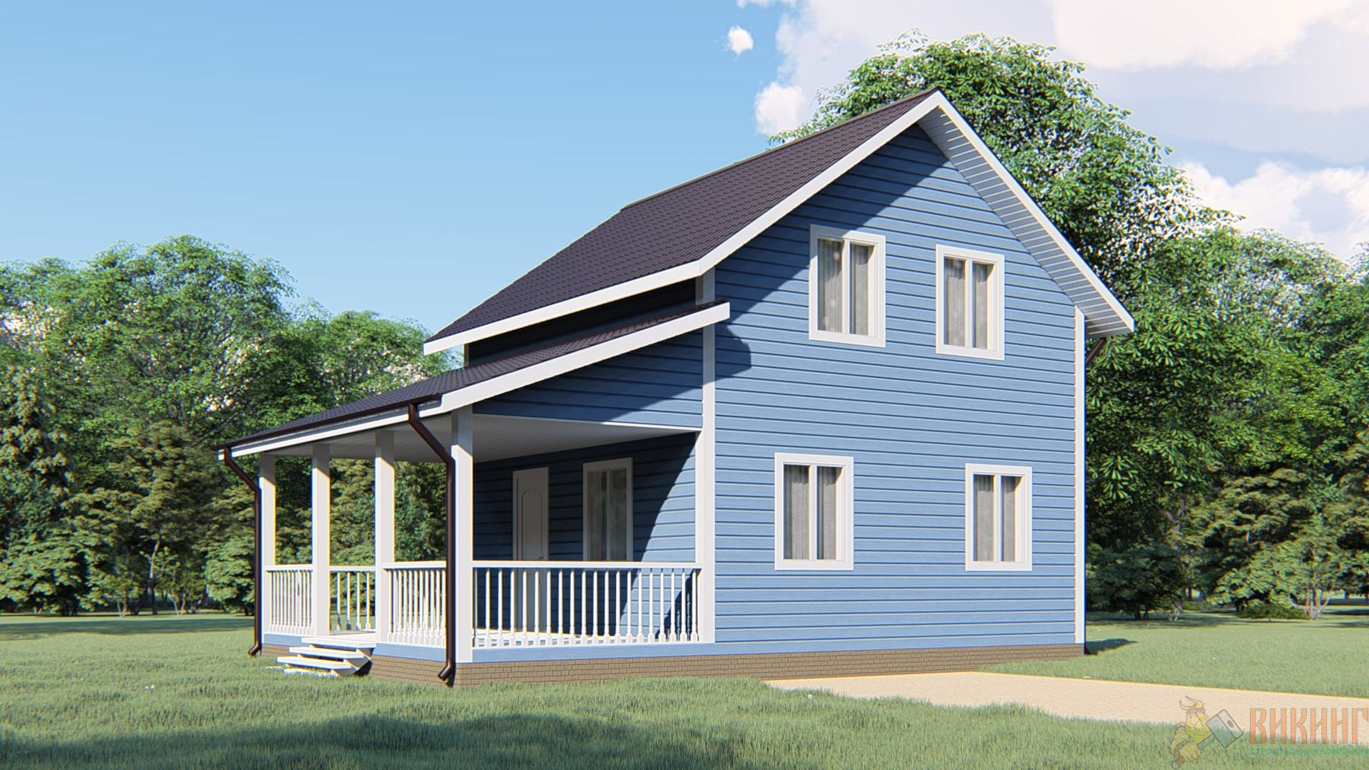 Каркасный дом полтора этажа 6х9м