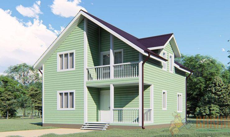 Каркасный дом полтора этажа 8х8