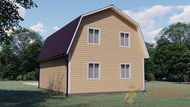 Каркасный дом с мансардным этажом 7х9