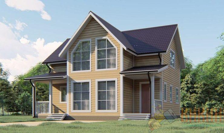 Каркасный дом полтора этажа 8х9 «Стеклянный ручей»
