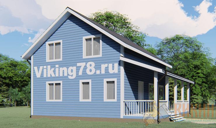 Каркасный дом полтора этажа 7х9